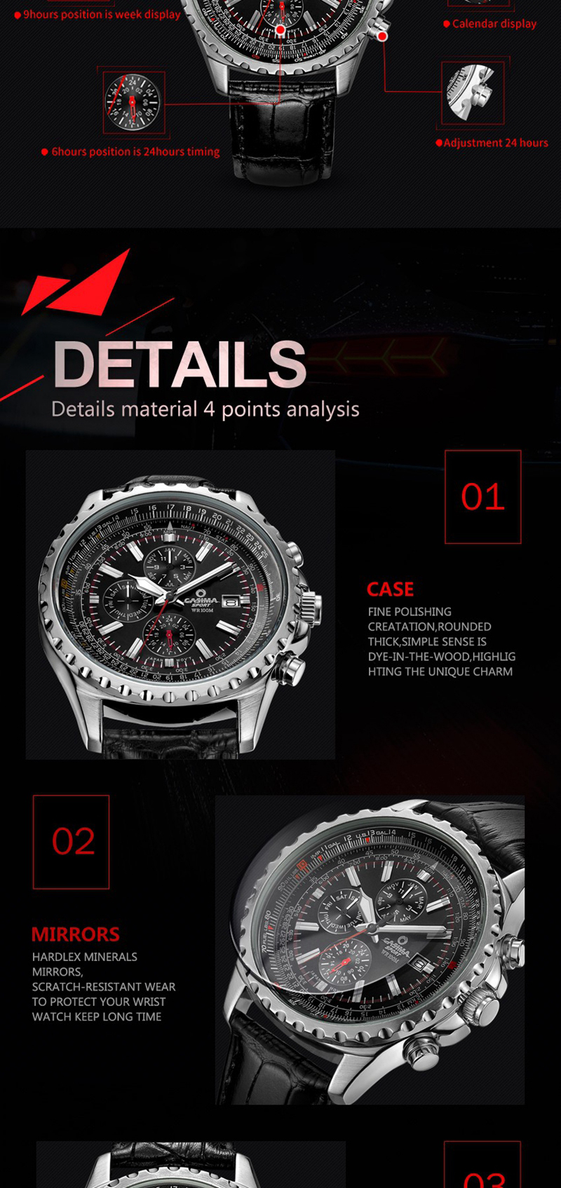 CASIMA 8882 Men Watch Waterproof 100M Luminous Stainless Steel Case Leather Band Classic Wrist Watch