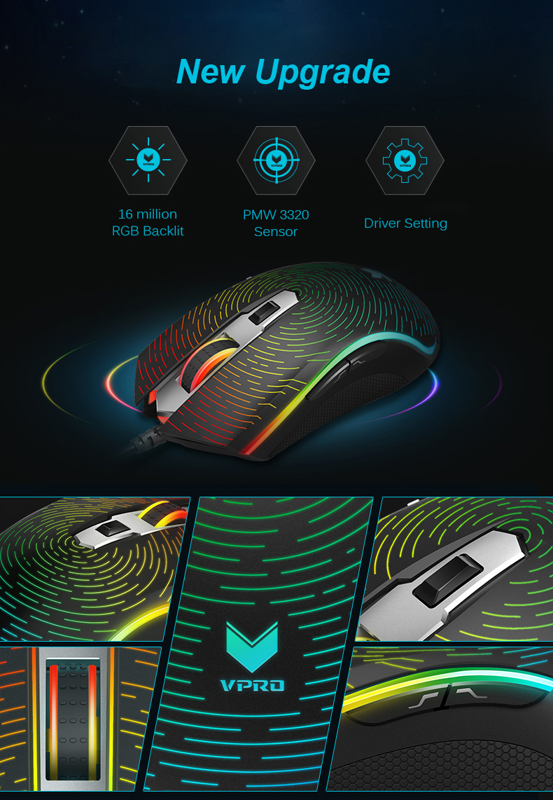 Rapoo V25S Starry Sky Version 7000DPI DIY RGB Backlit Optical Gaming Mouse USB Wired Mouse