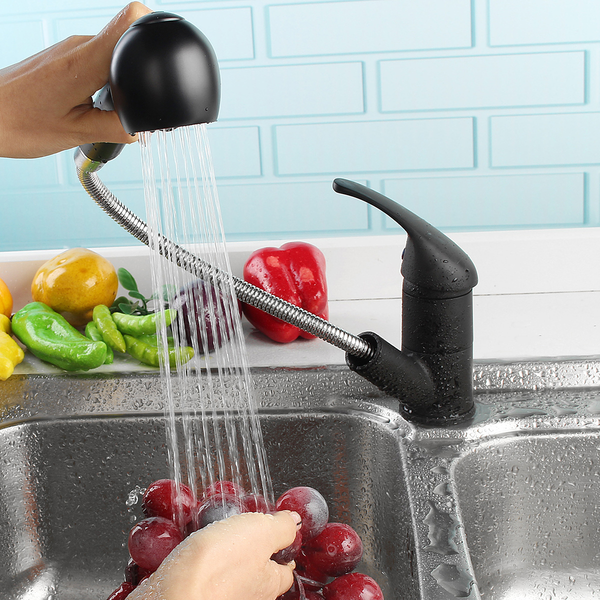 Modern Pull Out Spray Kitchen Faucet Brass Spout Sink Single Handle Mixer Faucet
