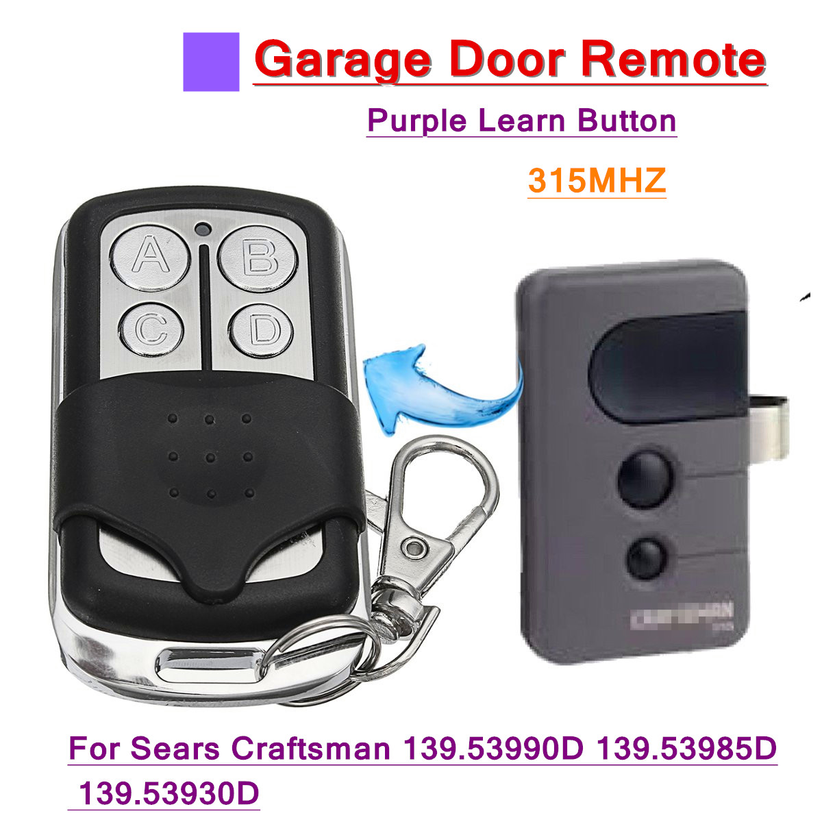 Garage Gate Multi Remote 315MHz for Sears Craftsman 139.53990D 139.53985D 139.539