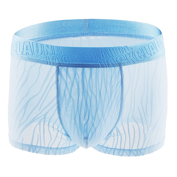 Ice Silk Breathable Hollow Lace U Convex Transparent Boxers