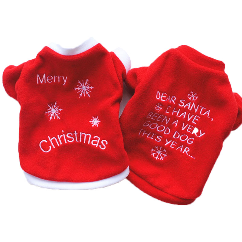 Christmas Pet Dog Cat Winter Clothes Warm Pullover Embroidered Outfit Coats Costume For Puppy Dogs