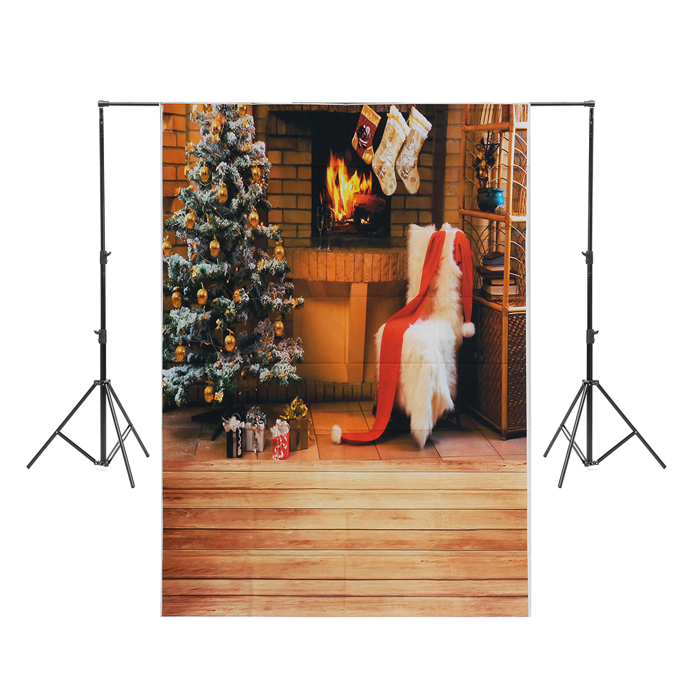 5x7ft Christmas Tree White Chair Stocking Fireplace Pho