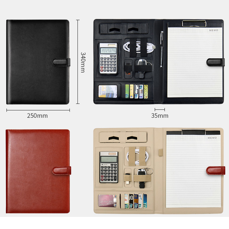 Business Notebook Zipper Notepad with Calculator Multi-function Notebook