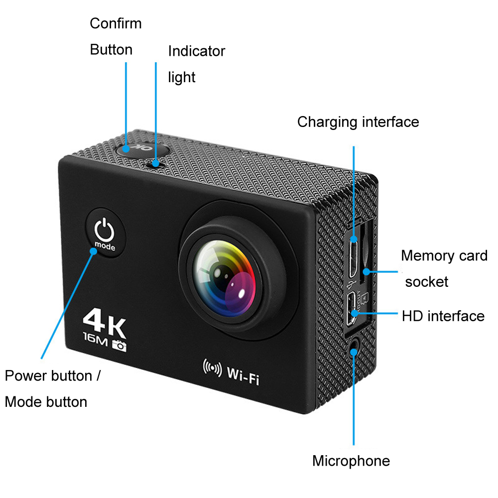 AT-Q30RM Wifi 4K 2.0 Inch 1080P HD Waterproof Action Sport Camera With Mic for FPV RC Drone - Photo: 7