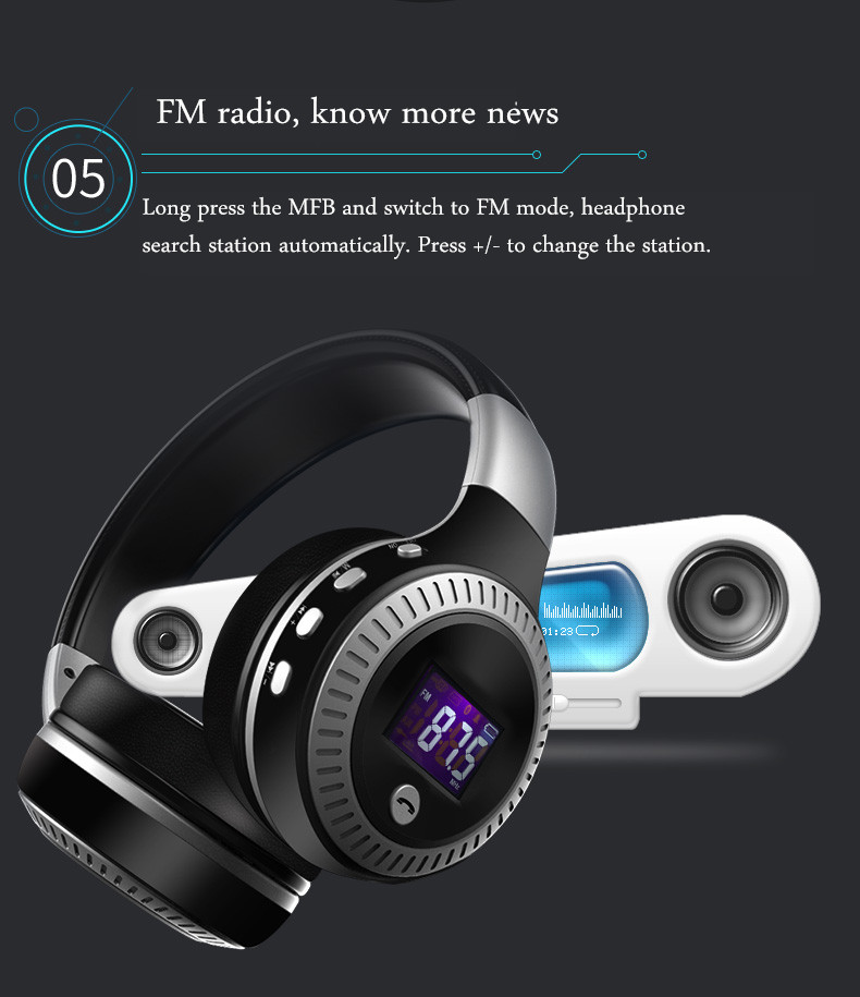 Zealot B19 Digital Display Stereo Tf Card FM Radio AUX Wireless bluetooth Headset Headphone With Mic