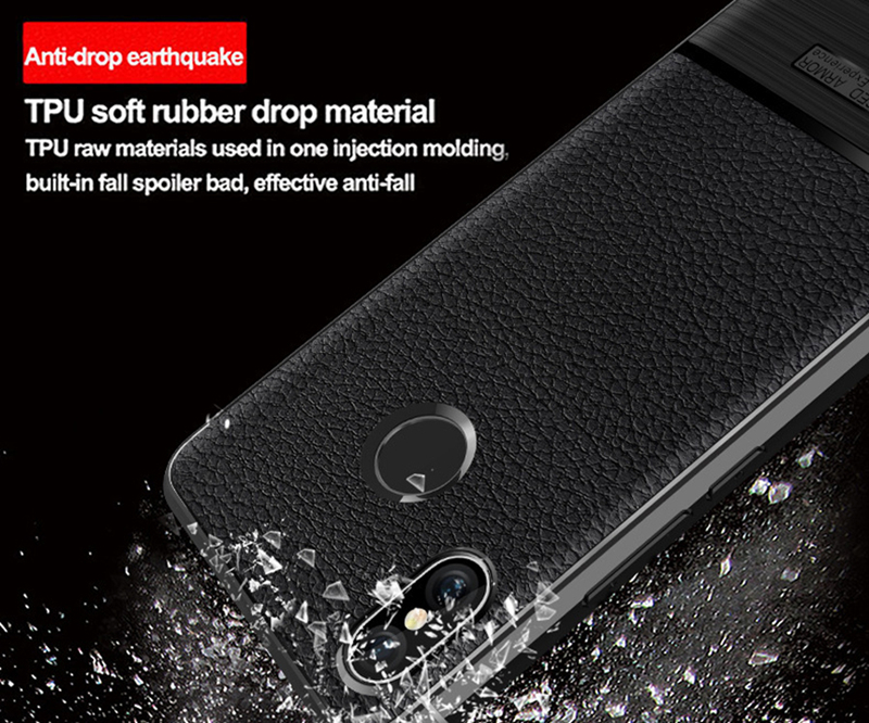 Bakeey Litchi Texture Wire Drawing Process Shockproof Protective Case For Xiaomi Mi8