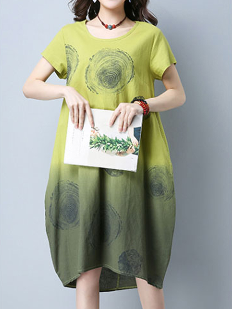 Casual Women Printing Gradient Color Short Sleeve Summer Dresses