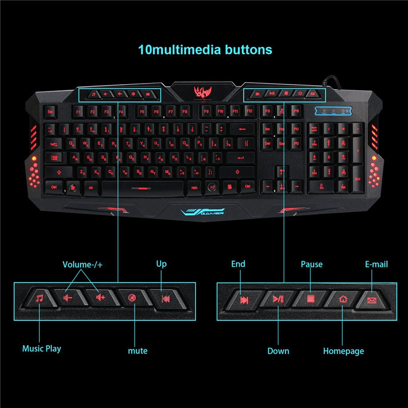 A877 Russian Version Wired 3 Color Adjustable Backlit Gaming Keyboard