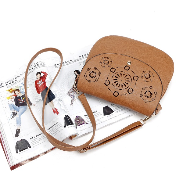 Women PU Leather Hollow Out Flora Vintage Mini Crossbody Bag