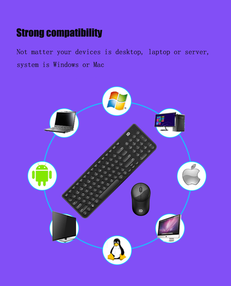 Ultra Silent Thin 2.4GHz Round Keycap Wireless Keyboard and Mouse Set Kit for Desktop Notebook