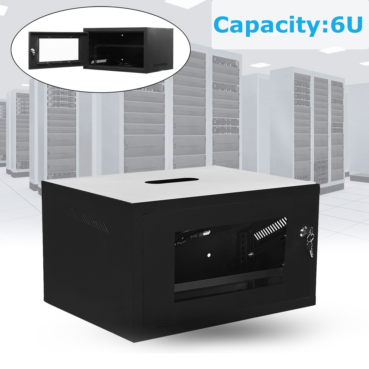 6U Wall Mount Consumer Series Server Cabinet Network Enclosure Locks