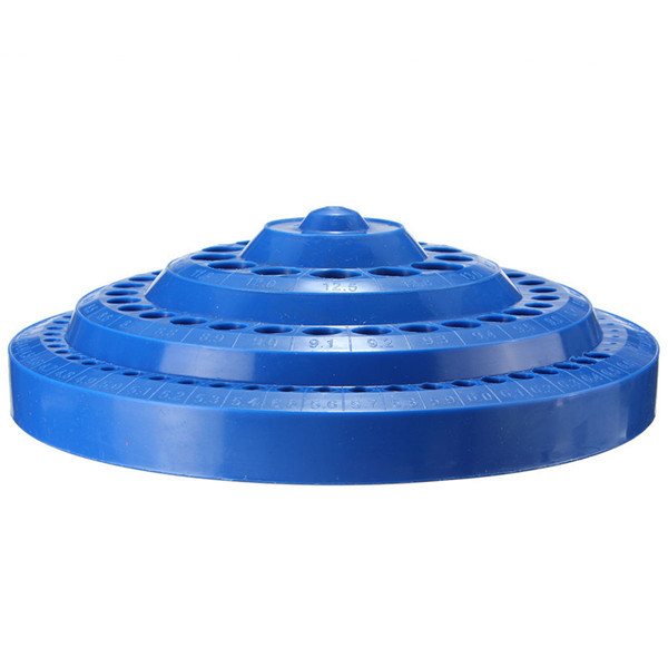 100 Holes Drill Bit Storage Case Multifunctional Plastic Round Shape Drill Bit Display Box Blue