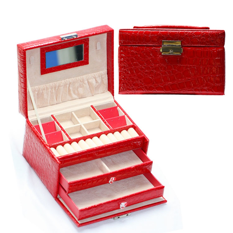 Fashion Jewelry Storage Box Leather Earrings Necklace Rings