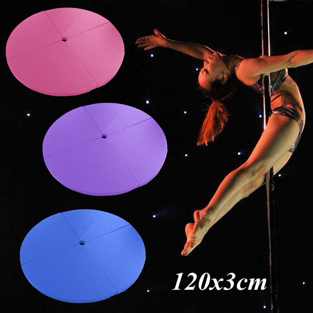 47x1.1inch Portable 4 Folding Pole Dance Safety Mat Floor Home Gym Exercise Fitness Pad