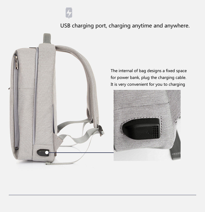Multi-function Waterproof Computer Digital Accessory Bag Anti Theft Backpack With USB Charging Port