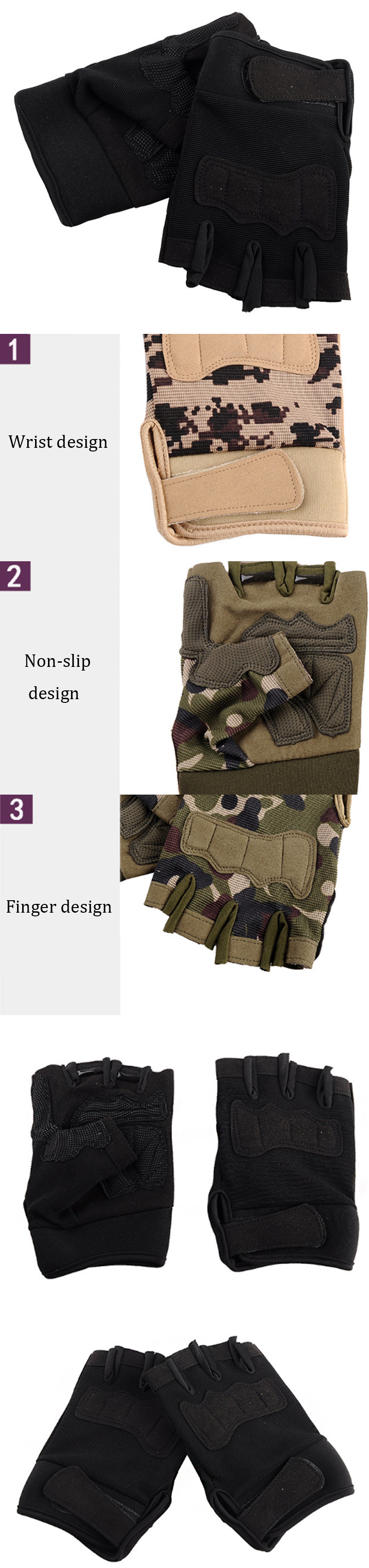 KALOAD 1 Pair Tactical Glove Military Sports Climbing Cycling Fitness Anti-skid Gloves Half Finger Gloves