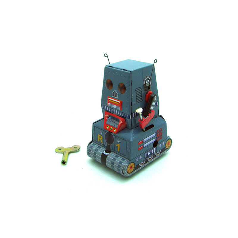 Classic Vintage Clockwork Wind Up Tank Robot Adult Collection Children Tin Toys With Key