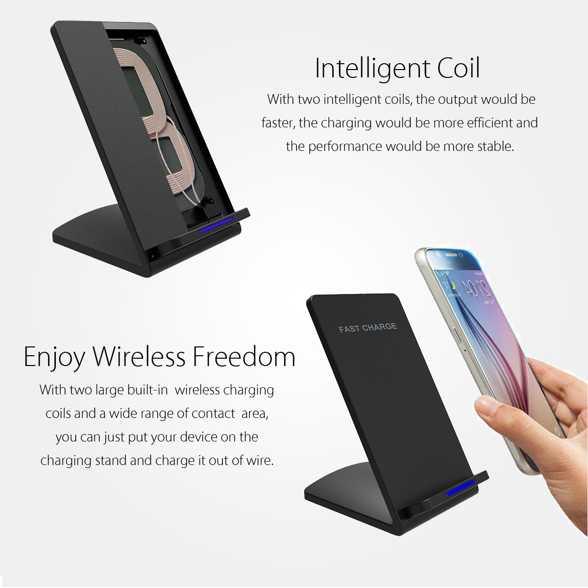 M520 10W 2 Coils Qi Wireless Quick Charger Stand Holder for Samsung S8 Galaxy Note 8 iPhone 8 Plus X