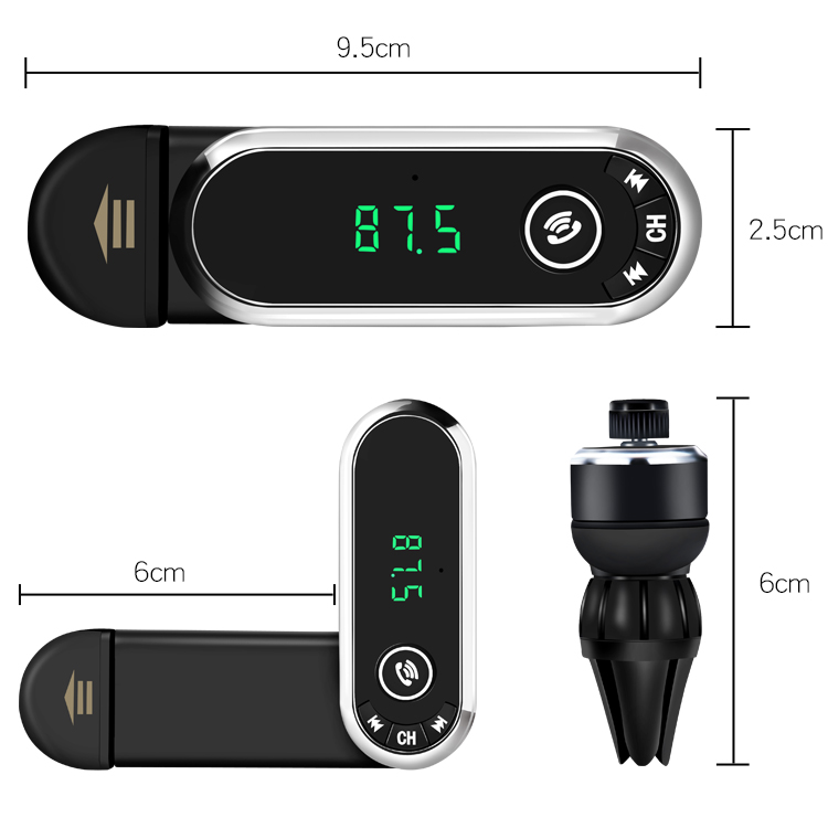 Quelima F1 Car bluetooth Hands-free Kit Charger Phones Holder FM Transmitter MP3 Player TF Card