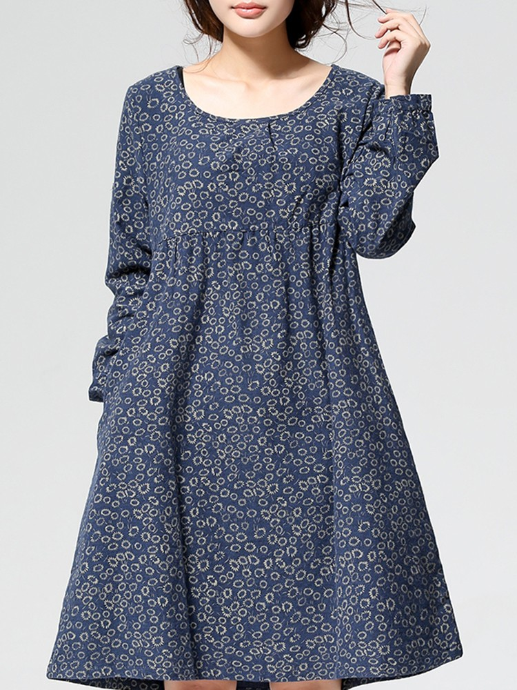 Casual Women O-Neck Long Sleeve Floral Printed Dress