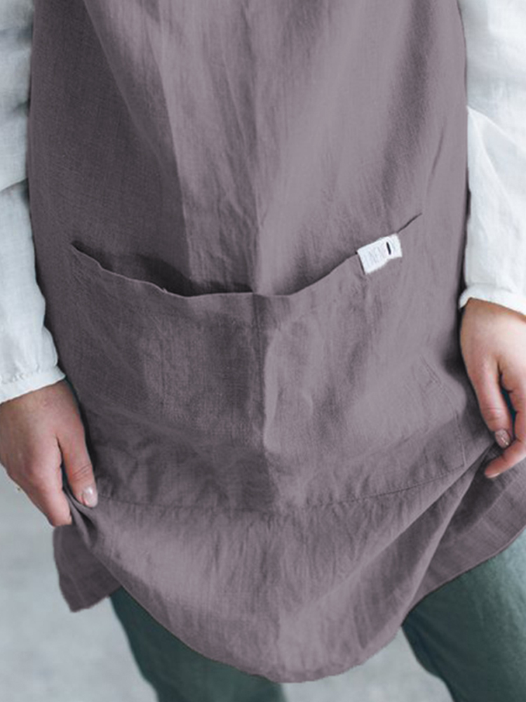Japanese Women Strap Linen Cotton Apron Solid Dress