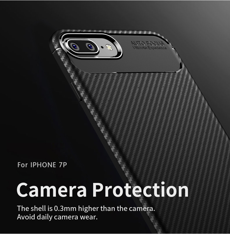 Bakeey Protective Case For iPhone 7 Plus/8 Plus Slim Carbon Fiber Fingerprint Resistant Soft TPU Back Cover