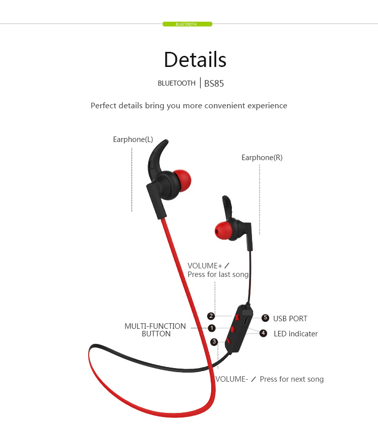 Langsdom BS85 In-ear Sports bluetooth Stereo Bass Earphone Free Games With HD Mic for iPhone xiaomi