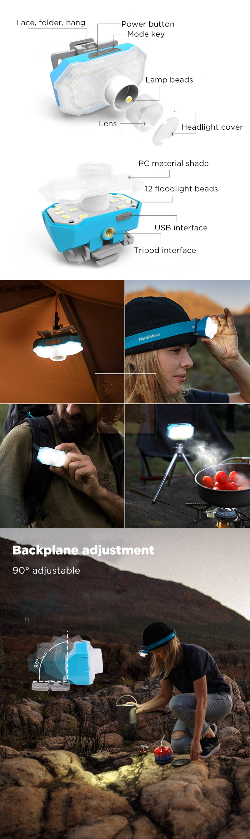 Naturehike 360 Lumens LED Headlamp Outdoor Fishing Hunting 4 Modes USB Rechargeable Tent Light With Tripod Headband