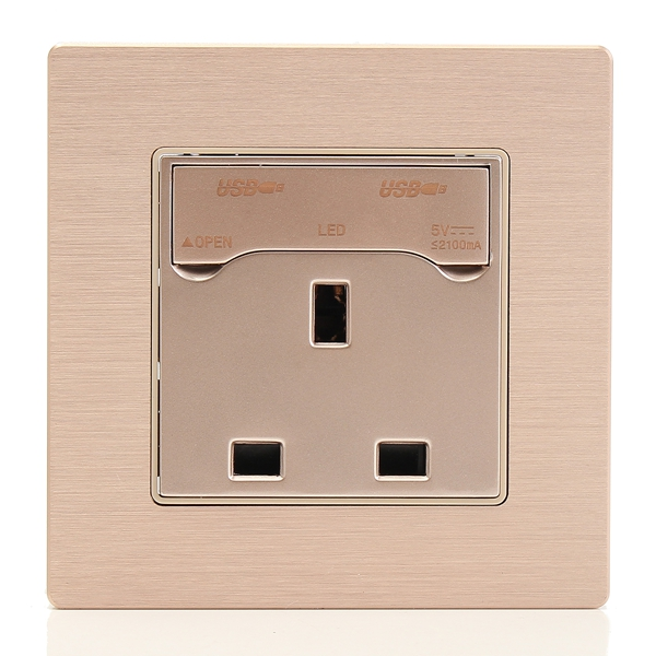 250V 10A Gold UK Plug Wall Socket Plate With 2 USB Charger Port Outlets