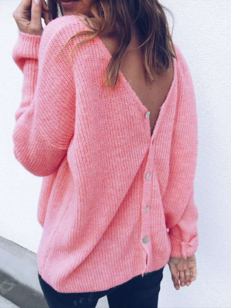 Women Casual V-neck Long Sleeve Pure Color Cardigans