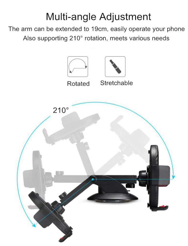 5W Qi Wireless Charging Suction Cup Long Arm Stretchable Car Mount Holder for iPhone Cell Phone