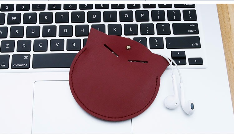 SOYAN Cat Shape Earphone Case Carrying Bag Headphone Storage Bag Cable Pouch