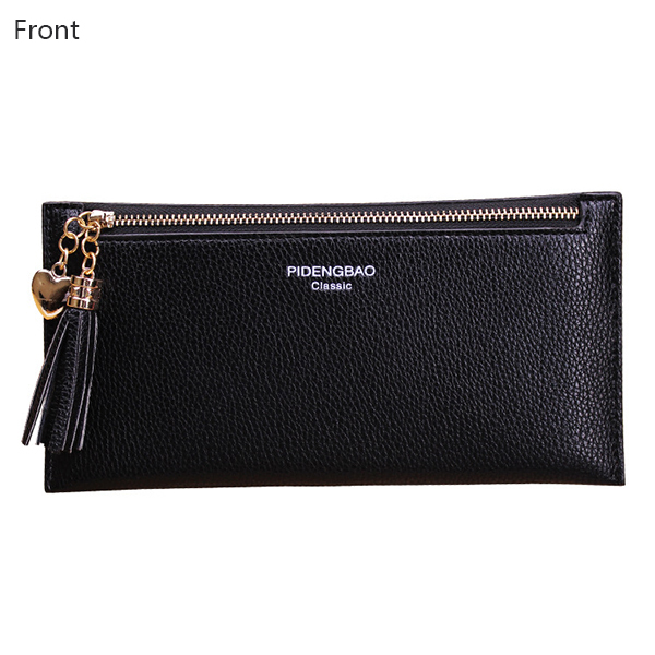 Women PU Leather Horizontal Light Weight Tassel Card Holder Coin Pursue Wallet