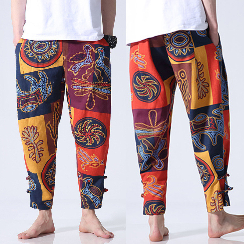 Mens Cotton Ethnic Style Loose S-5XL Elastic Waist Pants