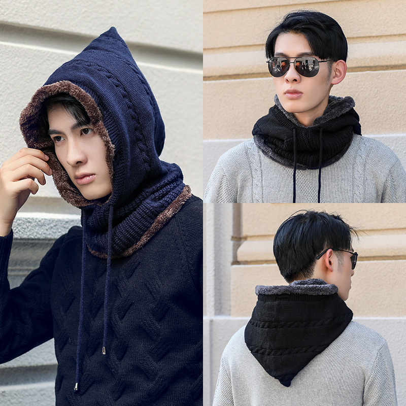 Mens Winter Double Layers Hats And Neck Collar Scarves