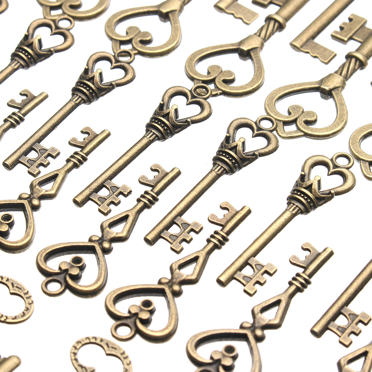 48Pcs Vintage Bronze Key For Pendant Necklace Bracelet DIY Handmade Accessories Decoration