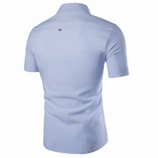Mens Slim Fit Solod Color Turn Down Collar Short Sleeved Business Dress Shirts