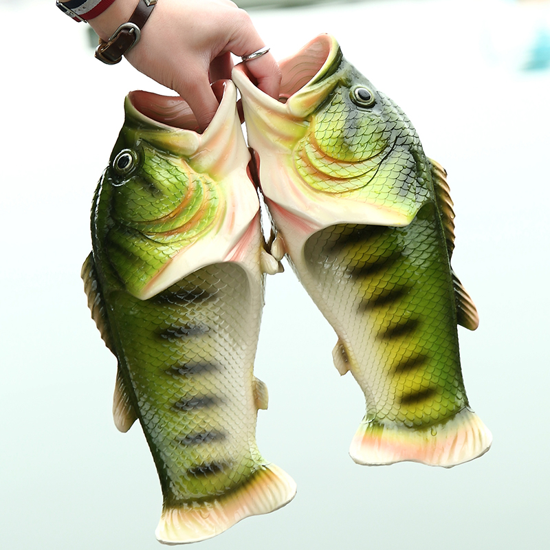 Creative Fish Style Beach Shoes Simulation Slippers for Women and Men