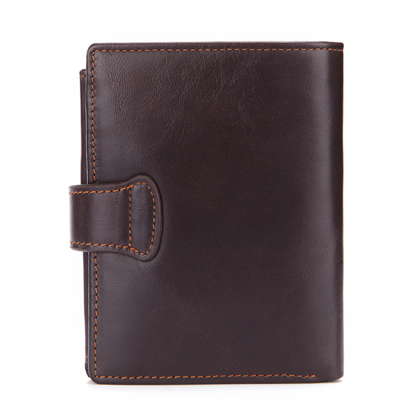 Men Genuine Leather Short Wallet Credit Card Holder