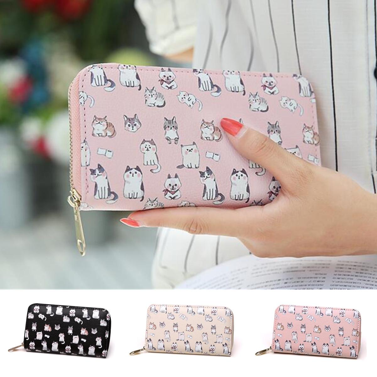 Women Girls Lovely Leather Long Wallet Clutch Card Holder Cute Cat Phone Bag Case Purse