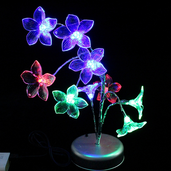 Lily Flower Tree Branch Night Light Table Lamp Multicolor Decoration Novelty