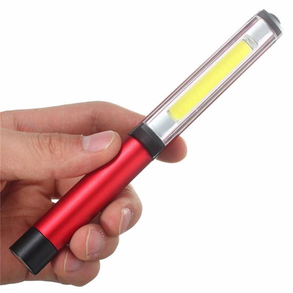 3W LED COB Pocket Pen Clip Light Work Inspection Lamp Magnetic Torch Flashlight