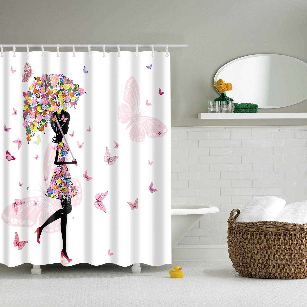 180x180cm Fabric Polyester Pink Butterfly Girl Waterproof Shower Curtain Bathroom With 12 hooks