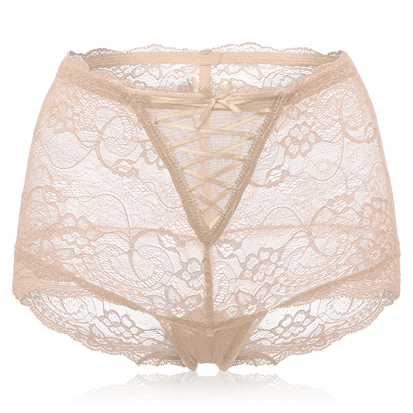 Mid Waist Sexy Lace Jacquard Bowknot Briefs
