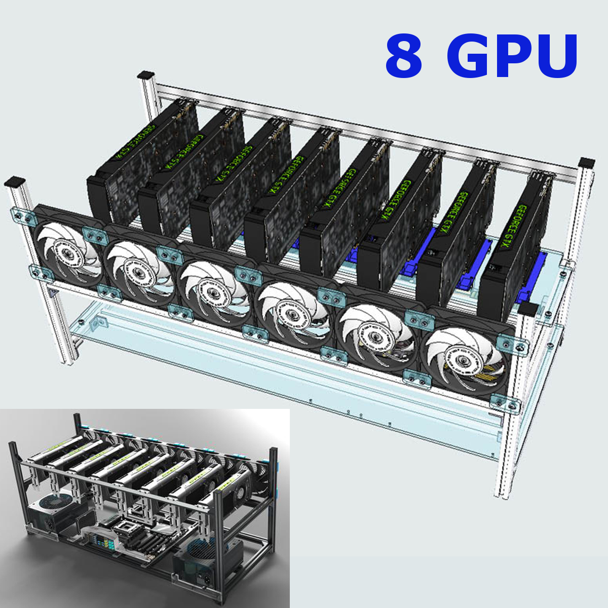 Aluminum Crypto Coin Open Air Mining Frame Rig Case Up To 8 GPU ETH BTC Ethereum