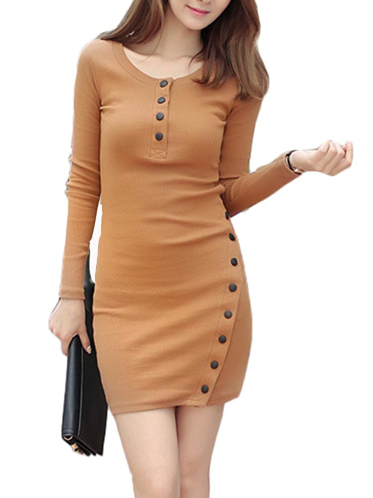 Sexy Bodycorn Button Split Long Sleeve Work Women Sweater Dress