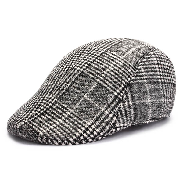 Unisex Men Women Cotton Blend Gird Stripe Newsboy Beret Hat Duckbill Cowboy Golf Flat Cabbie Cap