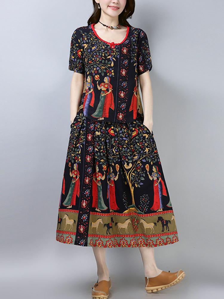 Women Summer Vintage Printed Short Sleeves Dress Suits