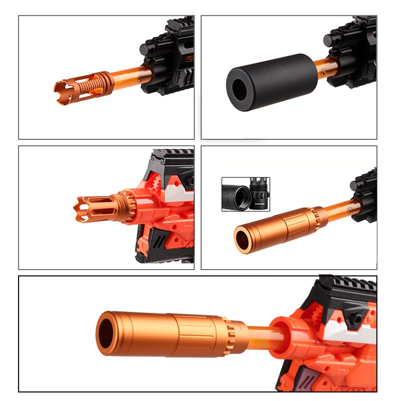 Worker AAC Plastic Front Tube Decorator For Nerf Toys Color Black